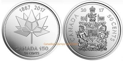 Canada 2017 50 Cent Half Dollar Coat of Arms & 150 Official Logo 2 Coins Set UNC