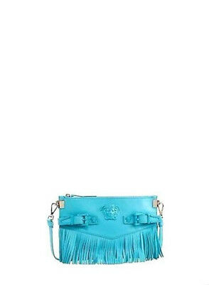 c212b139fc49 New Versace Small Palazzo Fringe Shoulder Crossbody Bag Clutch Blue Aqua