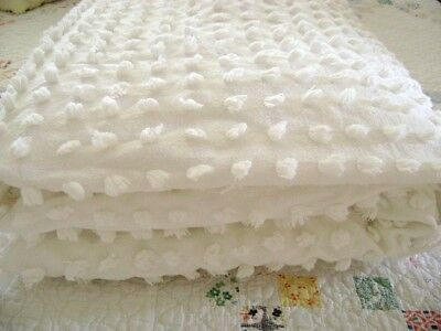 Chenille bedspread, Morgan Jones, white, medium pops, fringed, perfect condition