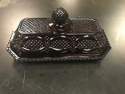 """Vintage Avon Red Ruby Cape Cod Glass Covered Butter Dish 7"""" long"""