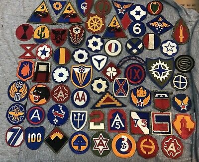 WWII US Army Patch Insignia Lot Collection of 65 Divisions AAF Armored More