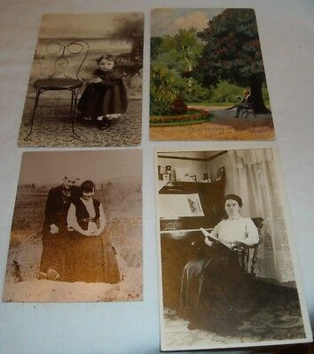 4 Vintage Real Photo Post Card Grand Piano Baby Chiar Us & Germany Post Card