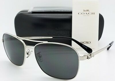 6861621984b6f New Coach sunglasses HC7080 900187 55mm Silver Grey Rectangle carriage  AUTHENTIC