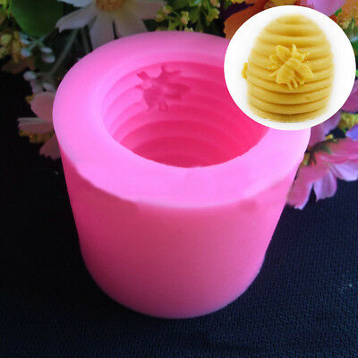 2Pcs Silicone Screw Hive Bee Fondant Soap Candle Mould Handmade Sugarcraft Mold