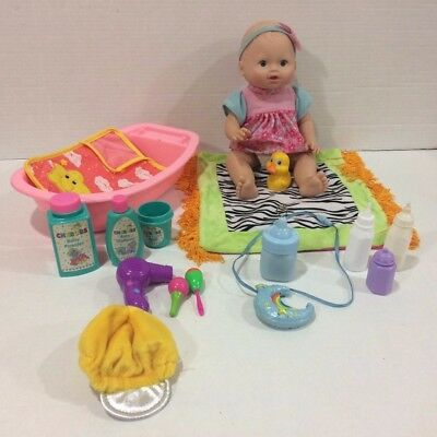Little Mommy Wipey Dipey Baby Doll with Sounds Bottle Bath Tub Accessories!