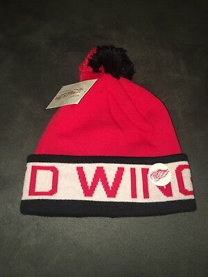 1b650883b1b54d Mitchell & Ness Detroit Red Wings Pom Beanie Red White Black Knit Winter Hat