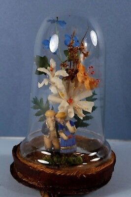 Antique German Diorama Blown Glass Dome WAX VALENTINE LOVING COUPLE w Flowers