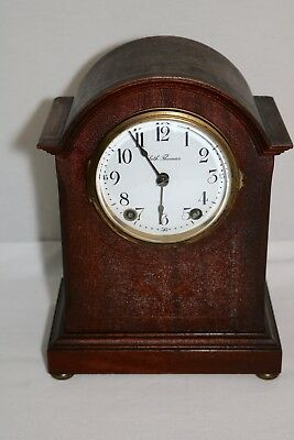 Antique Seth Thomas Mantel Shelf Clock with Inlay - Runs