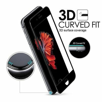 """For iPhone 8 4.7"""" 3D Curved Edge Tempered Glass Film Full Screen Protector Black"""