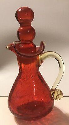 Rainbow Glass Red Amberina Pitcher Amber Handle Hand Blown With Stopper