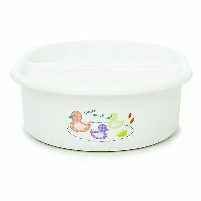 The Neat Nursery Co. Baby / Child Oval Top N Tail Wash Bowl Quack Quack White