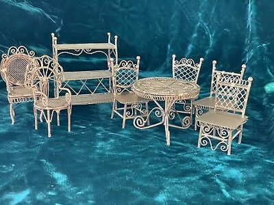 8 Pieces Vintage Doll House Gold Metal Wire Work Furniture  1:12 Pretty