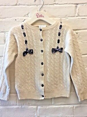Vintage Girl 6 S Laura Ashley All Wool Ivory Cardigan Sweater Ribbon Detail