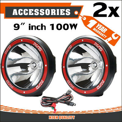 "Pair 9"" inch 100W HID Driving Lights Xenon Spotlight Offroad 4WD Truck UTE 12V F"