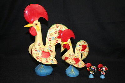 4 Vintage Rooster Figurines Made In Portugal Ceramic Hand Painted Folk Art