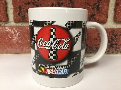 Coca-Cola NASCAR Coffee Mug Checkered Flag Official Drink Coke Racing Bottle