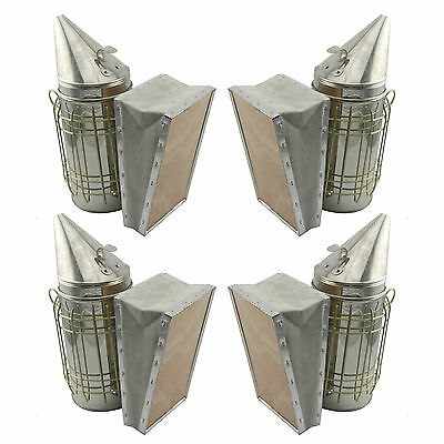 Set of 4 Bee Hive Smoker Stainless Steel w. Heat Shield Beekeeping Equipment sw