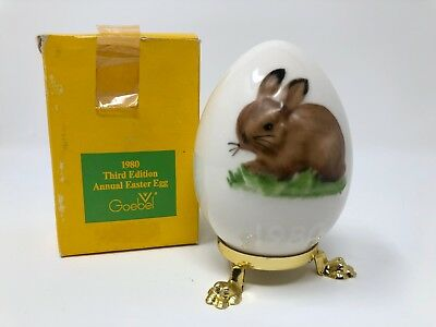 Goebel Hummel 3rd Edition Annual Egg 1980 Brown Bunny Rabbit Collectible Germany