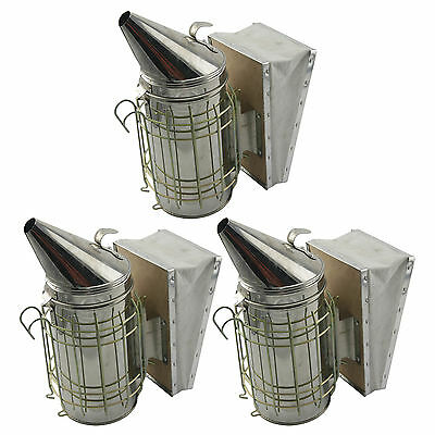 Set of 3 Bee Hive Smoker Stainless Steel w. Heat Shield Beekeeping Equipment sw