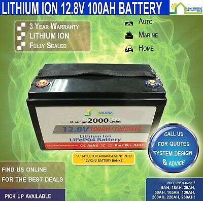 12V 100ah Lithium Ion LiFePo4 Deep Cycle Rechargeable Battery - PICK UP LISTING