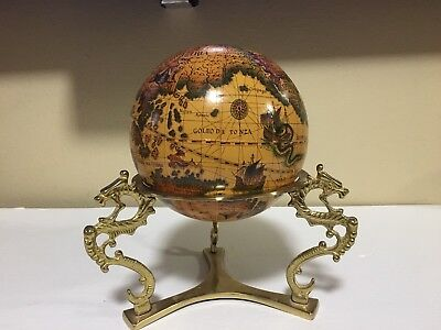 VINTAGE Old World Terrestial Globe Metal Brass Dragon Stand Antique Look