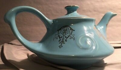 Vintage Pearl China Blue Aladdin Style Teapot with 22K Gold Trim made in USA