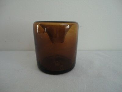 Antique Early Hand Blown Amber New England Glass Inkwell Bottle Open Pontil