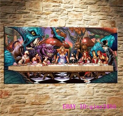 Alice in Wonderland ,HD Print Art Home Decor Oil Painting on Canvas 16x32INCH