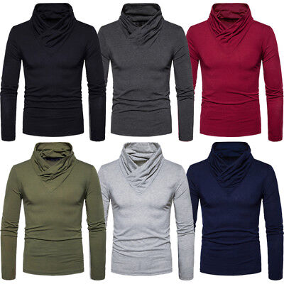 Us Stock Mens Roll Neck Long Sleeve Cotton Top Polo & Turtle Neck Basic T Shirts