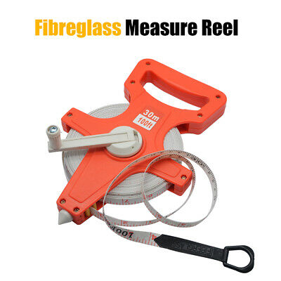 30M 100Ft Flexible Fibreglass Tape Measure Open Reel Surveyors Work Building New