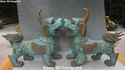 "13 ""Old China Cloisonne Emaille Bronze Guardian Brave Truppen Einhorn Beast Pair"