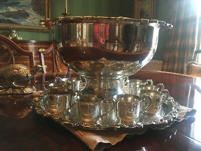 Punch Bowl - Vintage Sheridan Silverplate includes cups, platter and ladle