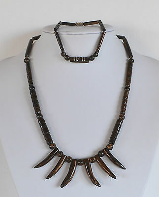 Vintage Set Hawaiian Carved Black Coral Necklace With Twigs & Bracelet