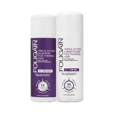 Foligain Hair Loss Shampoo & Conditioner, Women's Travel Pack with 2% Trioxidil