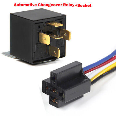 NEW 12/24V Automotive Changeover Relay 40/80A 4/5Pin for Car Bike Van+Socket UK
