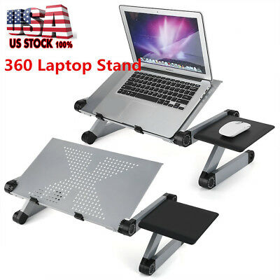 Silver Adjustable Folding Laptop Table Lap Desk Bed Computer Tray Stand