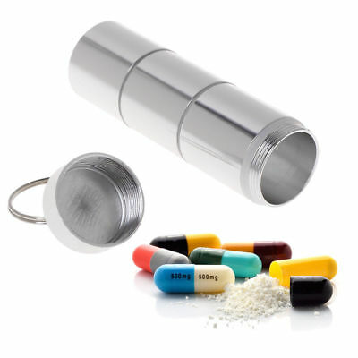 Waterproof Pill Box Case Bottle Holder Alloy Container Keychain Medicine Capsule