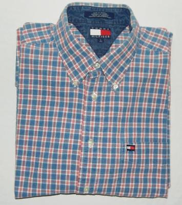 feea66d2 TOMMY HILFIGER Men's Blue Red Plaid Long Sleeve Button Down Shirt Size Large