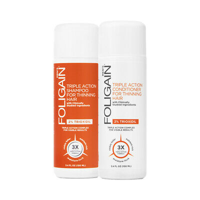 Foligain Hair Loss Shampoo & Conditioner,Men's Travel Pack with 2% Trioxidil 2 x