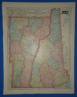 Vintage 1909 NEW HAMPSHIRE VERMONT MAP ~ Old Antique Original Tunison Atlas Map