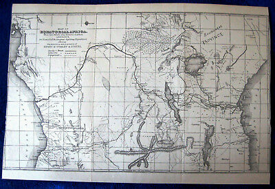 c1880s EQUATORIAL AFRICA antique folding MAP routes Stanley Cameron Livingstone
