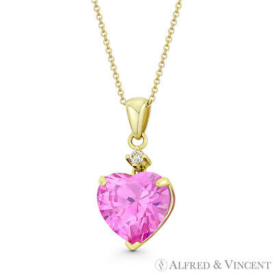 Heart-Shaped Faux Tourmaline Pink CZ Crystal 20mmx9mm Pendant in 14k Yellow Gold