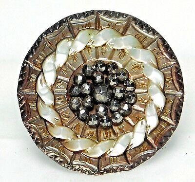 STUNNING Large Antique CARVED & Incised VICTORIAN Pearl Shell & Cut Steel BUTTON