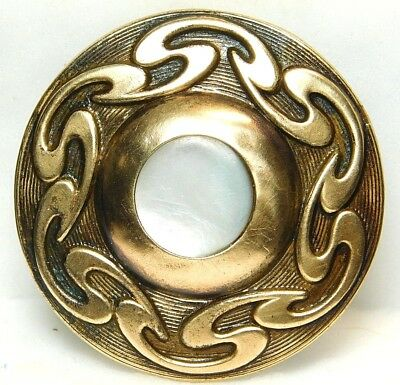 LARGE Antique VINTAGE Button Pearl Shell in Ornate Stamped BRASS 93A5