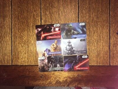 "Disney Gift Cards ""NO VALUE"" Lot of 6 Reloadable Star Wars"