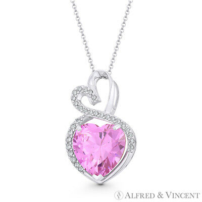 Faux Tourmaline Pink CZ Crystal 22mmx13mm Double-Heart Pendant in 14k White Gold