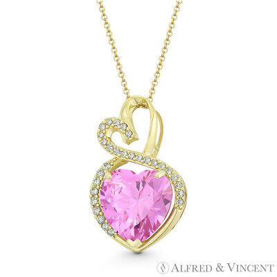 Faux Tourmaline Pink CZ Crystal 22x13mm Double-Heart Pendant in 14k Yellow Gold