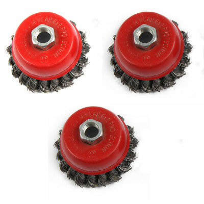 3Pcs M14 Crew Twist Knot Wire Wheel Cup Brush Set For 100mm Angle Grinder New UK