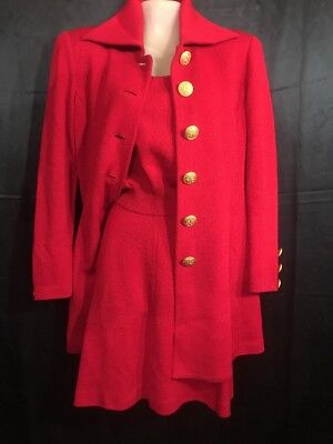 FAB! St John Collection by Marie Grey Holiday Red 3PC Knit Skirt Suit Size 4