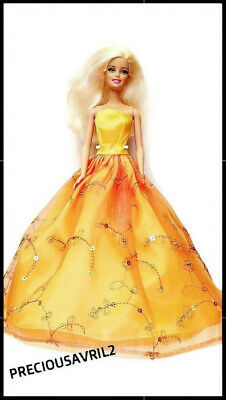 New Barbie doll clothes outfit princess evening dress gown orange sequinned.